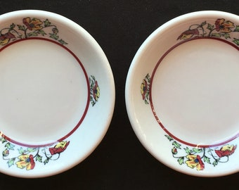 """Jackson China Diner Hotel Restaurant """"Oriental Poppy"""" 4-3/4"""" Fruit Bowls (Set of Two) in Excellent Lightly-Used Condition"""