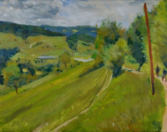 Original Oil Painting, South Tyrol, Italy, Rural Landscape by Robert Lafond