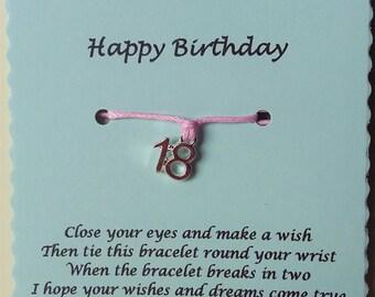 18th Birthday Gift, Birthday Friendship Bracelet, 18th Charm Bracelet, 18 today, Birthday gift, 18th Birthday Bracelet, Gift 18th