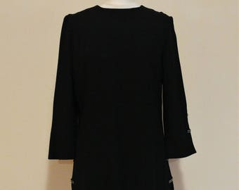 Vintage 1960s Young Mayfair Little Black Rhinestone Tunic Mini Dress