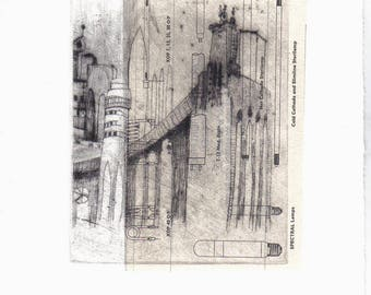 Original Etching Dry point***chine colle***one of a kind, Hand pulled