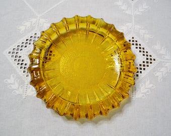 Vintage Amber Glass Ashtray Large Round Ashtray Smoking Accessory Tobacciana PanchosPorch