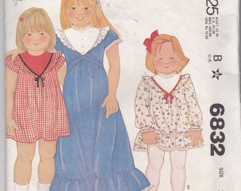 Vintage McCalls 6832 for childs dress with contrast yoke and short or long sleeves in size 3!