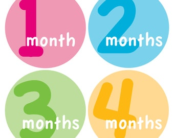 12 Monthly Baby Milestone Waterproof Glossy Stickers - Just Born - Newborn - Weekly stickers available - Design M014-08