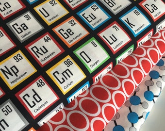 Science Fair Fabric, Science fabric bundle of 3, Gift for Teacher, Periodic Table, Chemistry, Robert Kaufman- Quilt bundle of 3, Geek fabric