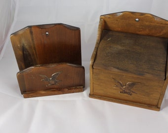 Vintage Wooden Napkin Holder and Recipe Box Giftwood Made in Japan Eagle