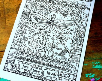 Dragonfly Adult Coloring Page -Floral-Lisa Kaus