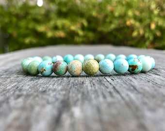 Dainty Hubei Turquoise Bracelet Pure Unstabilized 7mm Chinese Hubei Turquoise Gemstone Bracelet Blue Green Pastel Hubei Turquoise Rounds