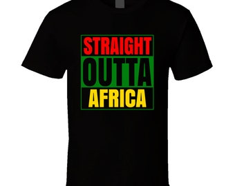 Straight Outta Africa Black Compton Style Parodt T Shirt