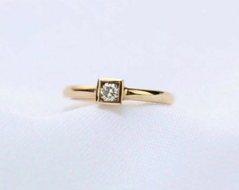 Square Box Setting, Round Diamond Ring/Engagement ring/Gold diamond ring/Anniversary ring/Gold promise ring/14k gold ring/Mothers Day gift