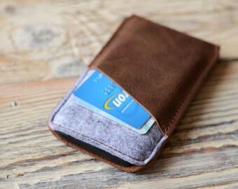 iPhone SE case Leather iPhone 5 case Felt iPhone 5 sleeve Card pocket iPhone 5 case iPhone SE card case
