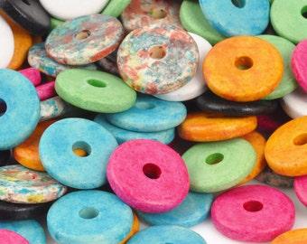 Ceramic-13mm Round Disc Beads-Multi-Quantity 25