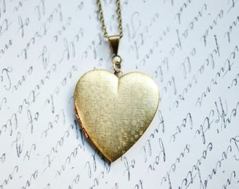 Vintage heart locket necklace, long chain, textured brass, keepsake jewelry