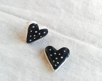 Hearts earrings stud. Ceramic hearts earrings. Cute heart earrings. Handmade ceramic earrings. Ceramic heart haindpainted