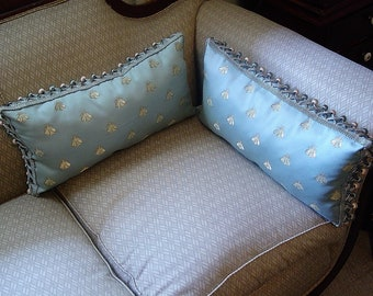 Pair of Napoleonic Royal Bee Pillows~Soft Aqua/Spa Blue with Gold Embroidered Honeybees~Trimmed with Ball Fringe~Gorgeous Fabric~French~NEW
