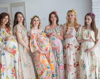 Cream Floral Maternity Maxi Dresses, Maternity Summer Dress, Maternity Workwear, Pregnancy Dress, Long Dress, Sundress, Baby Shower Gift