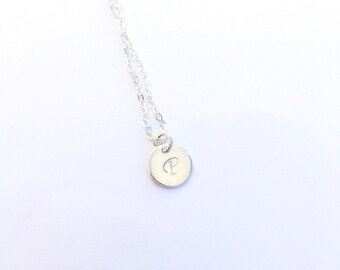 Dainty Sterling Silver Hand Stamped Initial Necklace