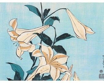 Hand-cut wooden jigsaw puzzle. LILIES on BLUE. Hokusai. Japanese woodblock print. Wood, collectible. Bella Puzzles.
