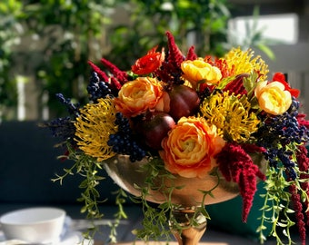 Bold Boho Floral Arrangement Faux Flowers - Large Arrangement // Boho Wedding Flowers