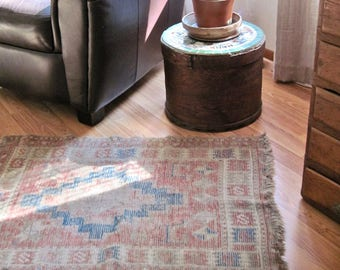 Antique Causasian Tribal Rug, Ethnic Wool Rug, Vintage Accent Rug, Boho Eclectic Rug, Anthropology Style Decor, Wall Hanging, Wall Art