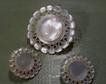 Genuine Mother Of Pearl Pin and Earring Set vintage round matching earrings hand-carved Bethlehem