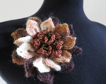 FREE US SHIPPING - Off White Beige Cream Taupe Rust Brown Color Acrylic Wool Yarn Fashion Crochet Flower Brooch Hat Hair Scarf Shawl Pin