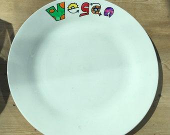Hand painted plate personalised . Vegan or vegetarian plate