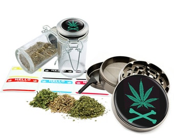 "Leaf Design - 2.5"" Zinc Alloy Grinder & 75ml Locking Top Glass Jar Combo Gift Set Item # 50G21916-8"