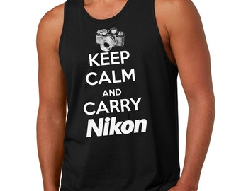 Keep Calm And Carry Nikon Funny Photographer Tank Top