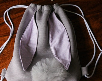 Backpack bunny rucksack for girls, Birthday present, grey and pink