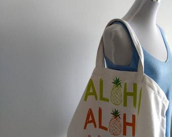 White / Multi Aloha tote/ beach bag
