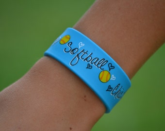 Girls Softball Team Gift - Softball Bracelet - Blue Slap Band w/Ruler - Softball Mom - Softball Player - Softball Gifts - Softball Jewelry