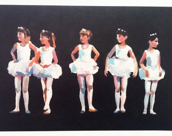 Small Ballet Dancers 1 -  1 art print on paper-Figures painting -  children prints - girls art-  Digital Prints & Reproductions