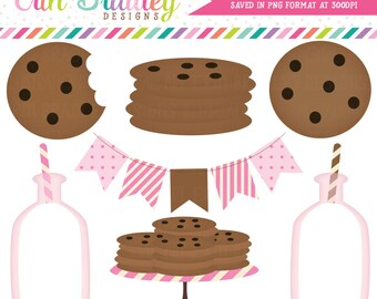 Pink Milk and Cookies Clip Art Commercial Use Clipart Graphics