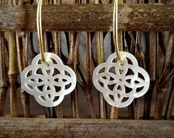 2 Pieces 18mm White Mother of Pearl Filigree Clover Connector White Shell Filigree Clover Pendant