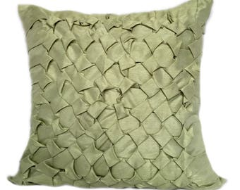 Green Throw Pillow Cover, Textured Pillow Cover, Modern Pillow Cover, SMOCKING Pillow Cover