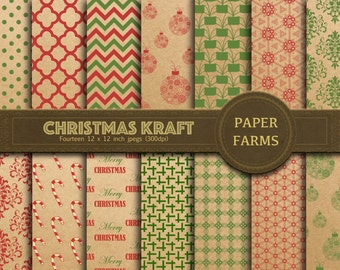 Christmas Kraft digital paper, christmas digital paper, rustic christmas digital paper, Christmas scrapbooking paper, red and green