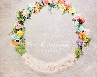 Hanging floral swing Digital Photography Prop