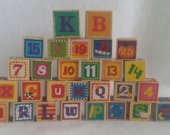 Lot of Wooden Alphabet and number blocks