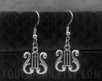 Irish Harp Earrings -Dangle Earrings -Lyre Charm Earrings -Greek Harp Earrings -Musical Earrings
