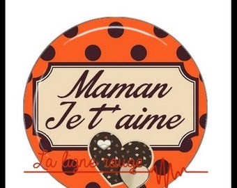 Mama ICH Liebe Dich (928) - Cabochon with or without your choice - heart text support mother day gift birthday diy jewelry creation