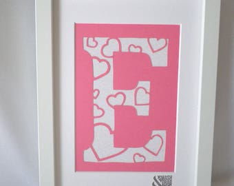 Cute little heart letters. Available in a wide variety of colours. 100% Hand cut.
