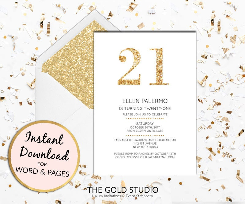 Instant download 21st birthday gold glitter invitation twenty first instant download 21st birthday gold glitter invitation twenty first birthday invite editable invitation template mac or pc word or pages stopboris Image collections