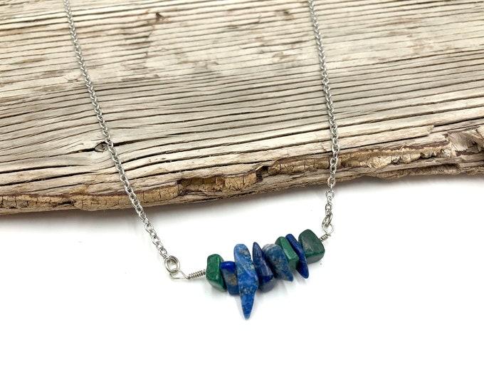 BUDDY PROJECT: lapis lazuli and malachite crystal necklace