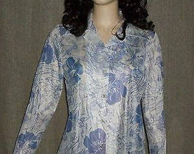 Vintage 70s Graff Californiawear Purple White Floral Preppy Womens Long Sleeve Shirt Deadstock NWT
