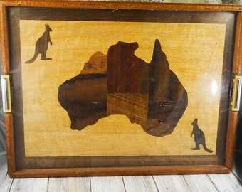 Vintage Australia Map Marquetry Tray from the 1930s, Inlaid Wood, Large Tray