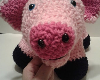 Huge Crochet Pig, Stuffed Pig, Handmade pig, Plush pig, pig pillow, Soft pig, Giant Pig, Baby's Room, Baby Gift,  Baby Shower Gift, farm toy
