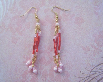 Red, Gold, and Pink Dangle Earrings