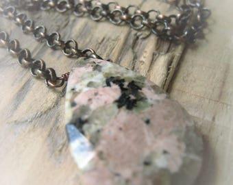 Stone Teardrop Necklace Australian Rose Granite Teardrop Necklace Item No. 1130