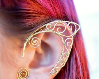 Golden ear cuffs, Faery ears, Elven ears, Faery ear cuffs, Elf ears